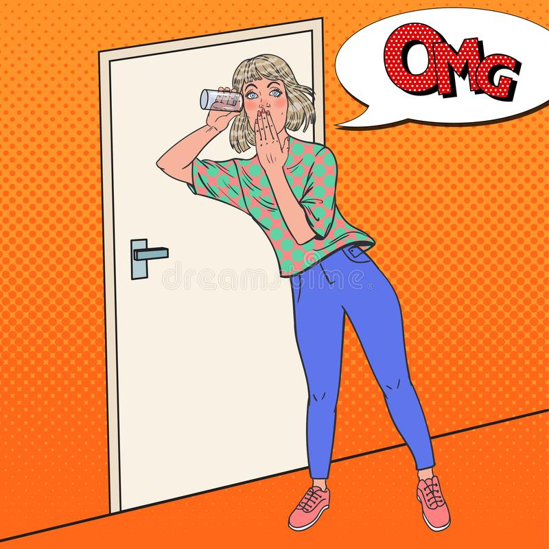 Pop Art Shocked Woman Listening Conversation met Glas Het meisje luistert af vector illustratie