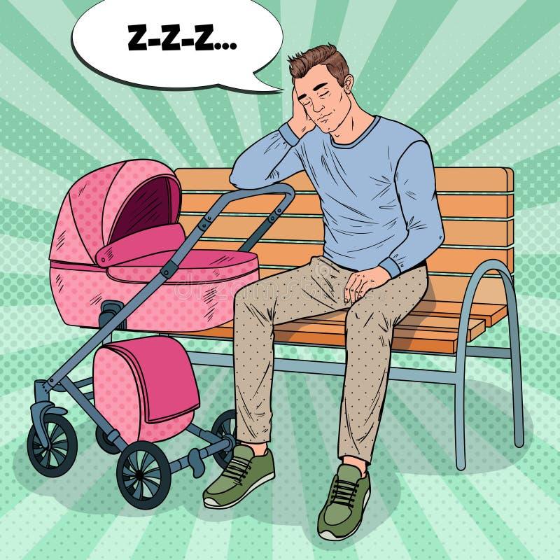 Pop Art Sleepless Father met Babywandelwagen stock illustratie