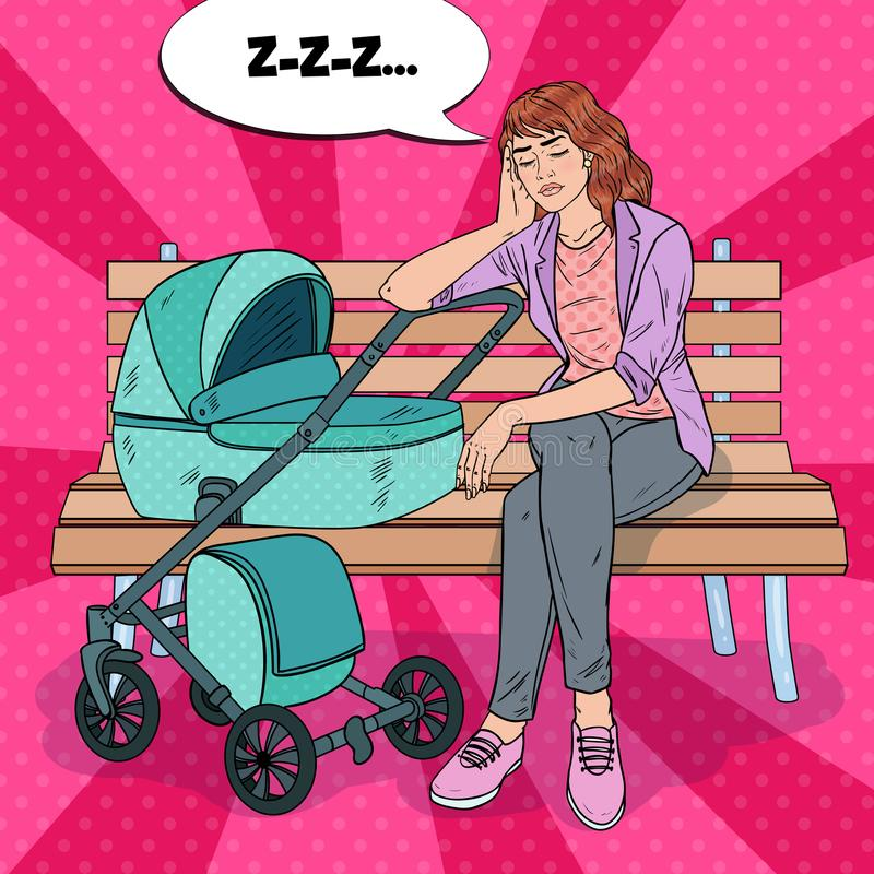 Pop Art Sleepless Young Mother with Baby Stroller. Pop Art Sleepless Young Mother Sitting on the Park Bench with Baby Stroller. Motherhood Concept. Exhausted stock illustration