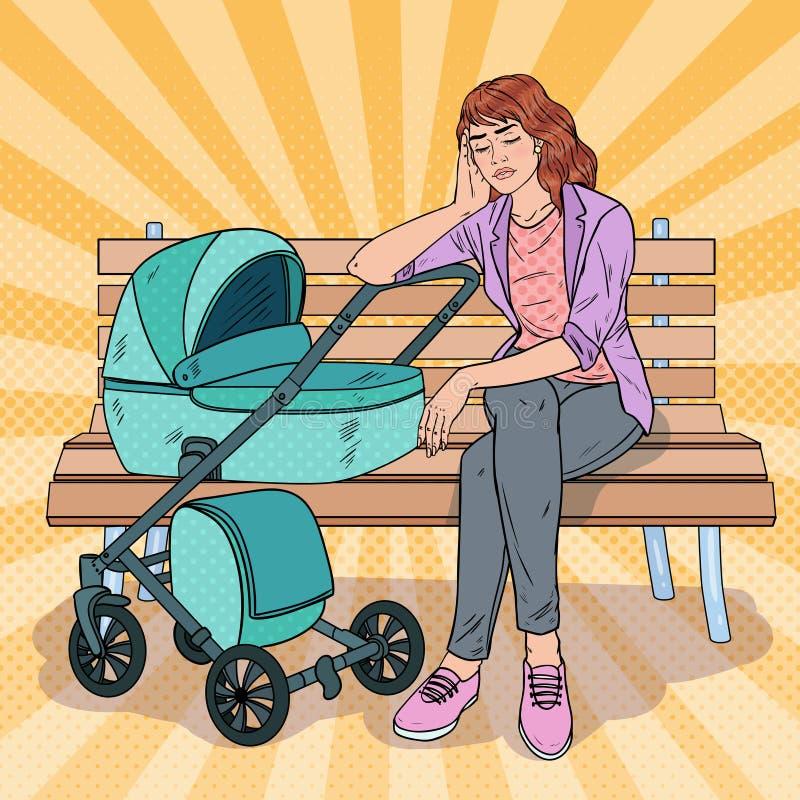 Pop Art Sleepless Young Mother met Babywandelwagen royalty-vrije illustratie