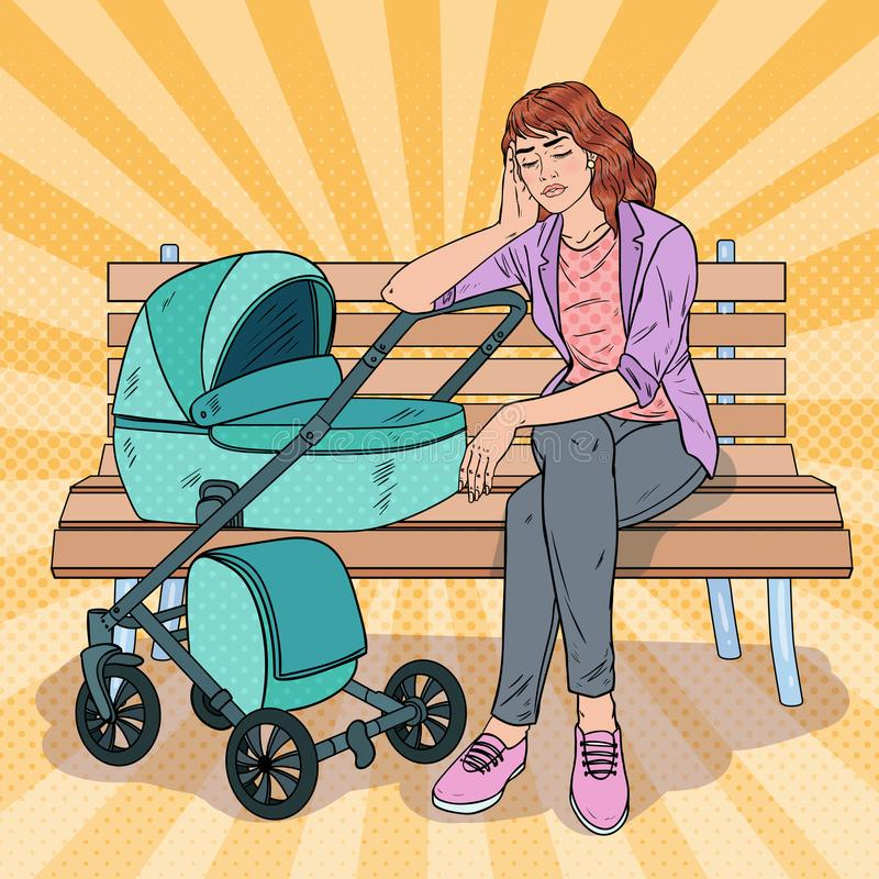 Pop Art Sleepless Young Mother with Baby Stroller. Pop Art Sleepless Young Mother Sitting on the Park Bench with Baby Stroller. Motherhood Concept. Tired Woman royalty free illustration