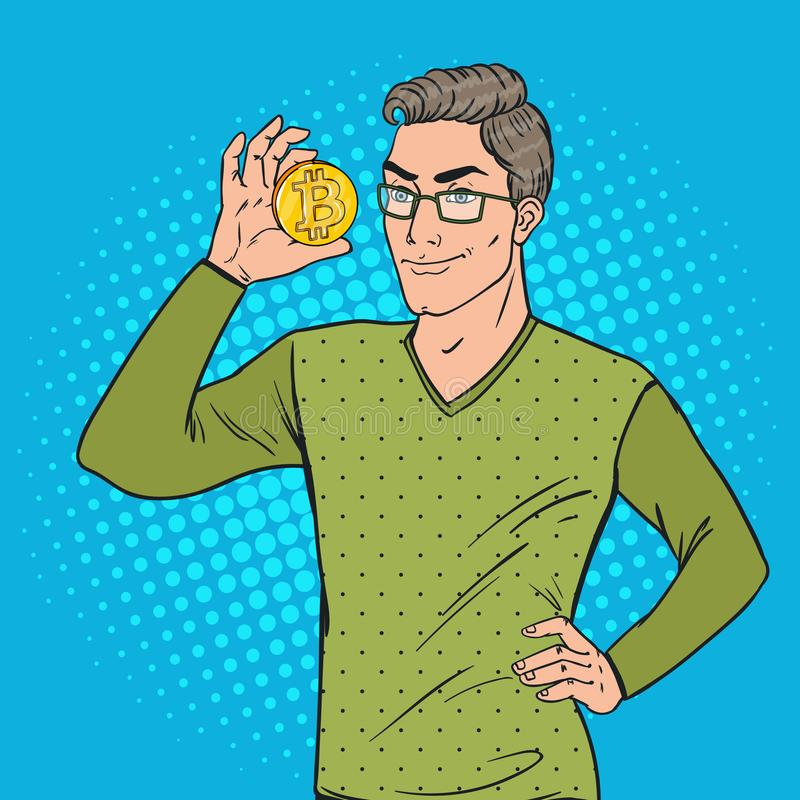 Pop Art Smart Man Holding Golden Bitcoin. Virtual Crypto Currency royalty free illustration