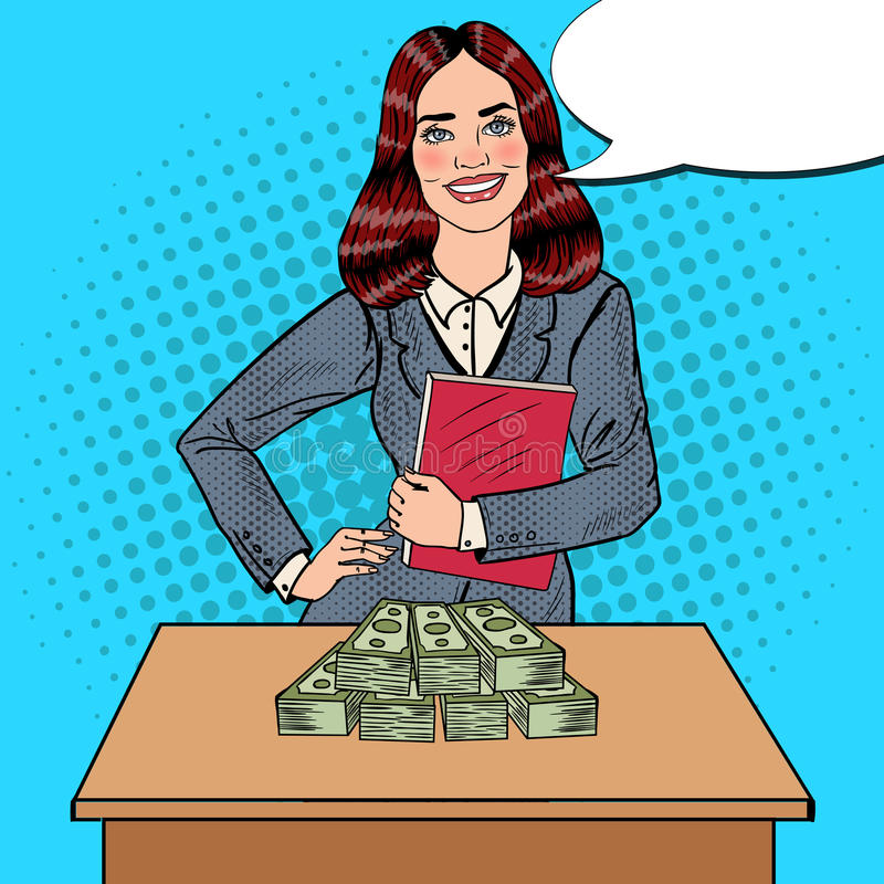 Download Pop Art Smiling Business Woman Standing Behind The Table With Money Stock Vector - Image: 83719199