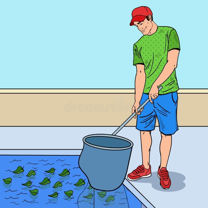 Pop Art Smiling Man Cleaning Pool van Bladeren de schoonmakende dienst royalty-vrije illustratie