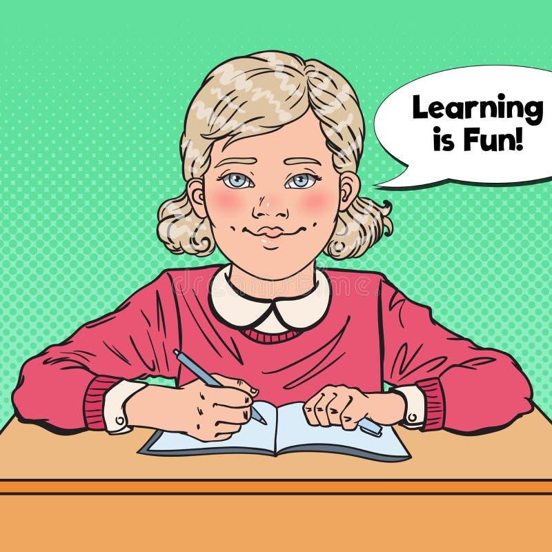 Pop Art Smiling Schoolgirl Sitting på skolaskrivbordet bilda begrepp royaltyfri illustrationer