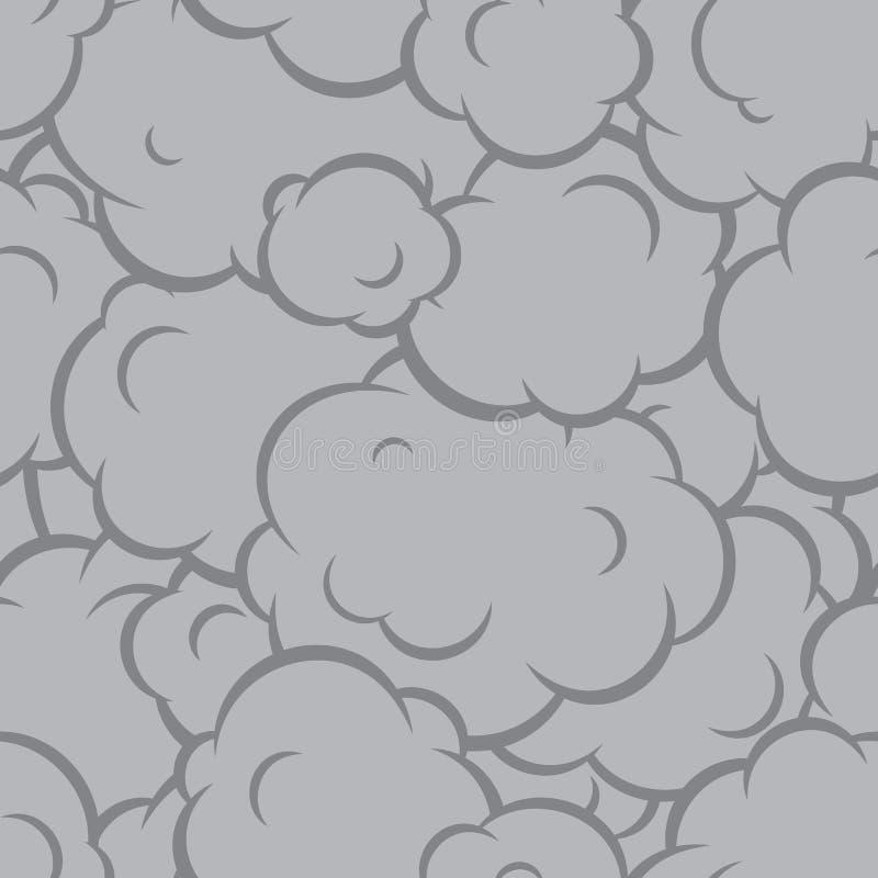 Pop art smoke seamless vector pattern grey vector illustration