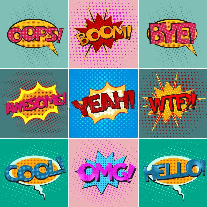 Pop art speech bubbles set. Pop art speech bubbles with texts, colorful comic book speech bubbles set with texts on a dots pattern backgrounds in pop-art retro royalty free illustration