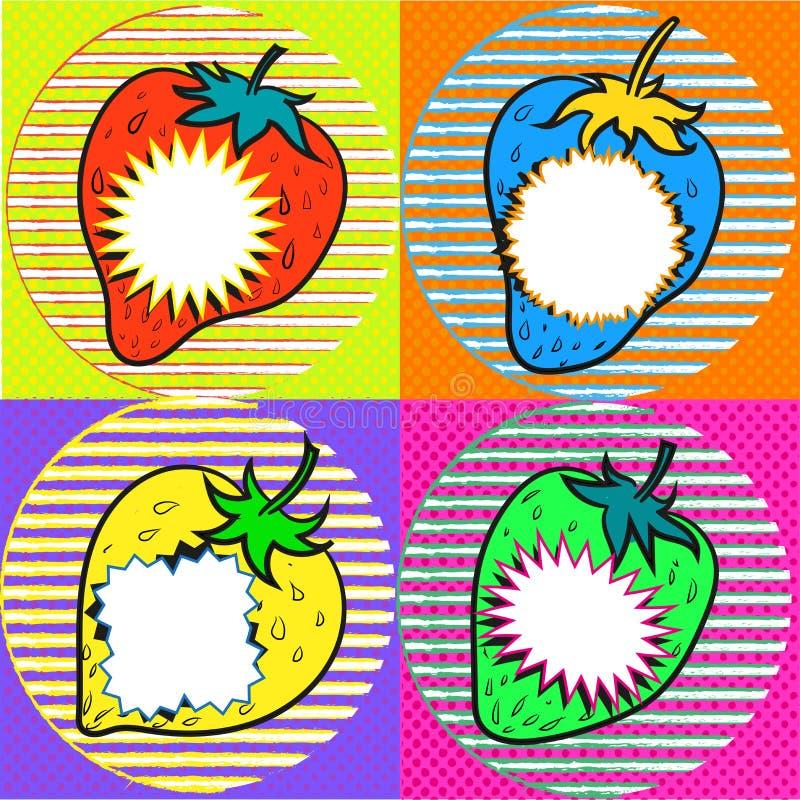 Pop art strawberry with speech bubbles vector illustration