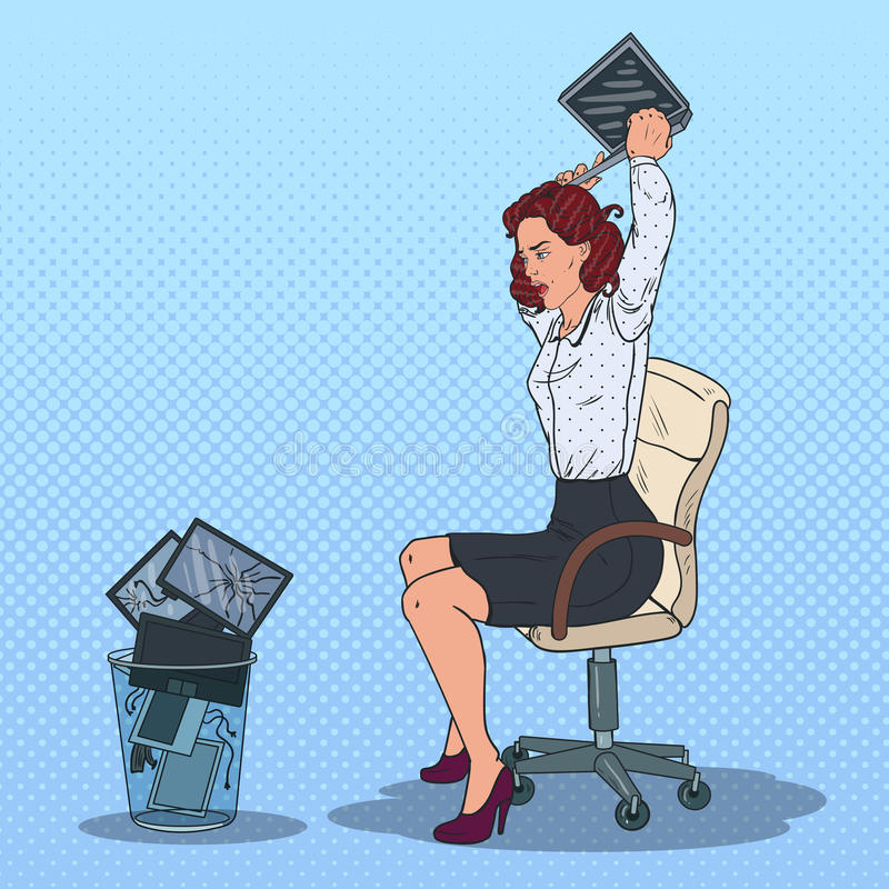Pop Art Stressed Business Woman Throwing Laptop to the Trash Bin. Angry Office Worker. Vector illustration royalty free illustration