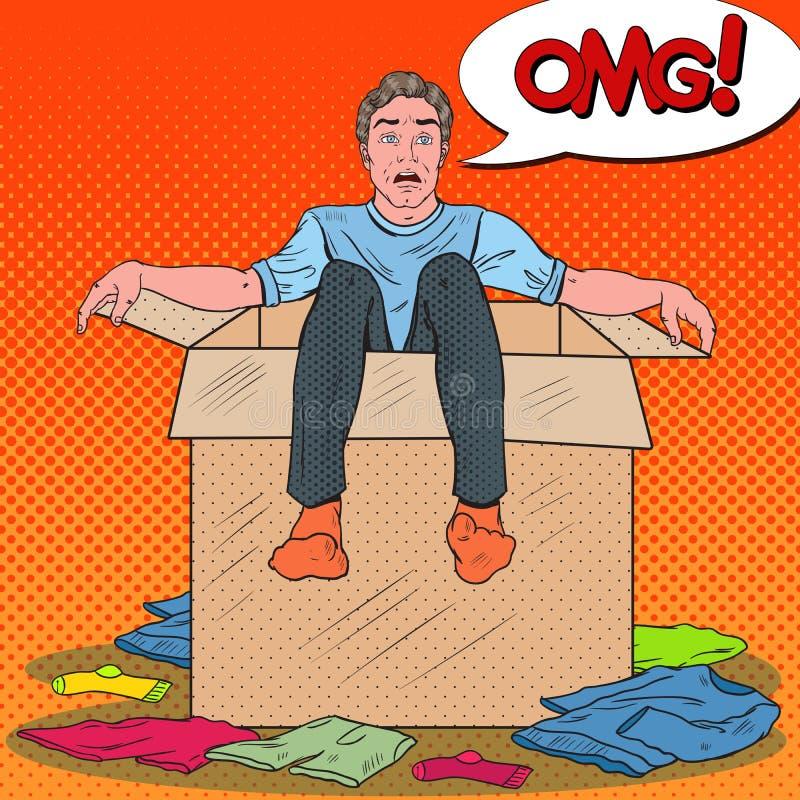Pop Art Stressed Man i asken med kläder Guy Moving till det nya huset royaltyfri illustrationer