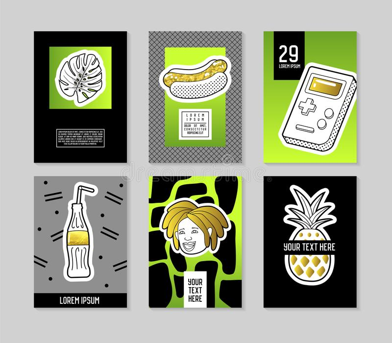 Pop Art Style Fashionable Posters Set. Trendy Fashion Banners with Badges and Patches for Placards, Covers Design. Invitations, Advertising. Vector vector illustration