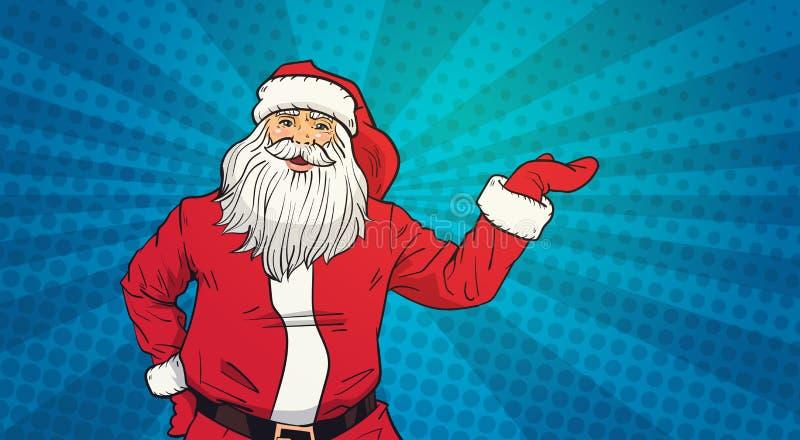 Pop Art Style Happy New Year för Santa Claus Hold Open Palm To kopieringsutrymme och feriebegrepp för glad jul vektor illustrationer
