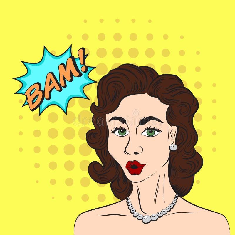 Pop art style sketch of beautiful brunette woman saying BAM! wit. Pop art style sketch of beautiful woman royalty free illustration