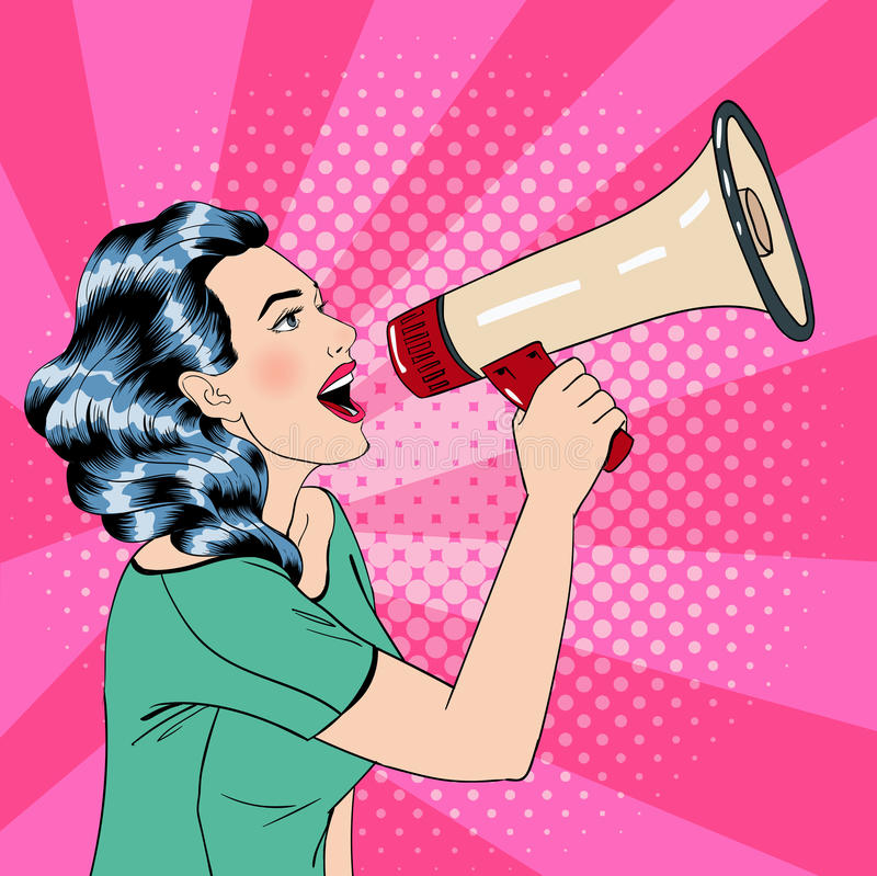 Pop Art Style Woman with Megaphone. Vector illustration stock illustration
