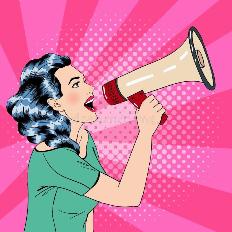 Pop Art Style Woman met Megafoon stock illustratie