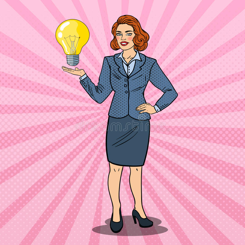 Pop Art Successful Business Woman with Creative Idea Light Bulb. Innovation. Vector illustration stock illustration