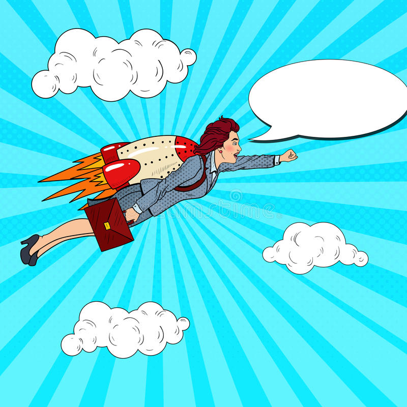 Pop Art Successful Business Woman Flying on Rocket. Creative Start Up. Vector illustration stock illustration