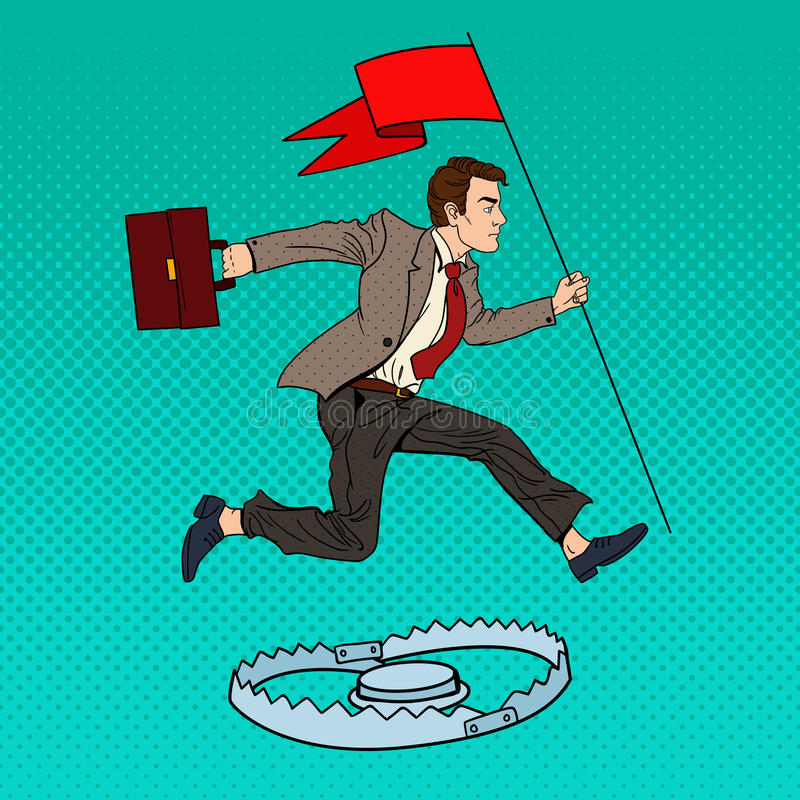 Download Pop Art Successful Businessman With Flag Jumping Over The Trap Stock Vector - Image: 83719865