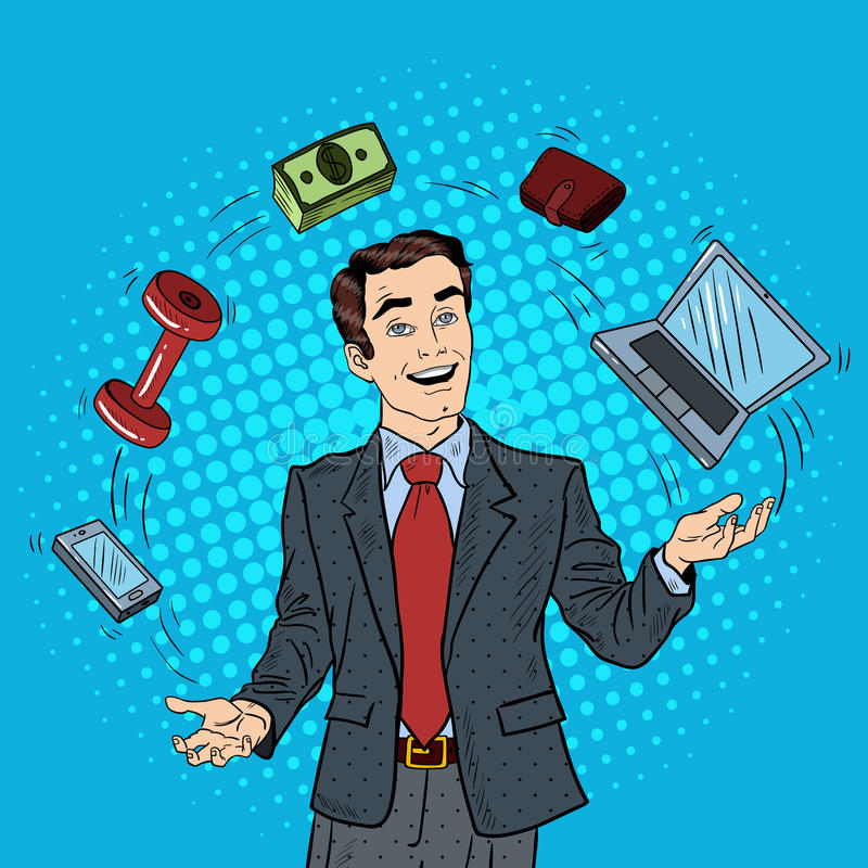 Pop Art Successful Businessman Juggling Computer, Phone and Money stock illustration