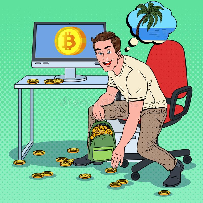 Pop Art Successful Businessman Put Bitcoins in Backpack and Dreaming about Tropical Vacations. Crypto Currency royalty free illustration