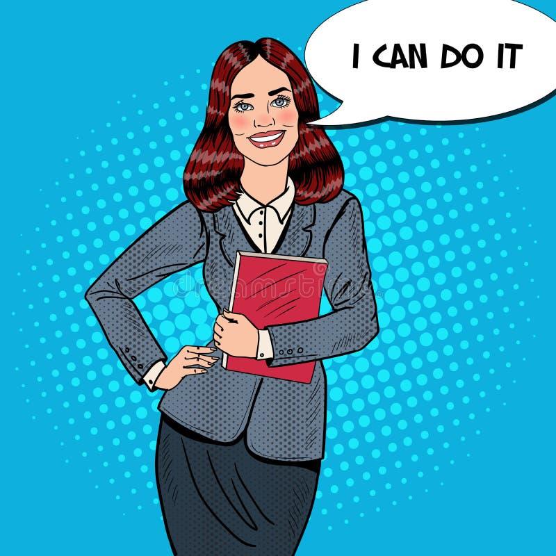 Pop Art Successful Smiling Business Woman-Holdingsomslag royalty-vrije illustratie