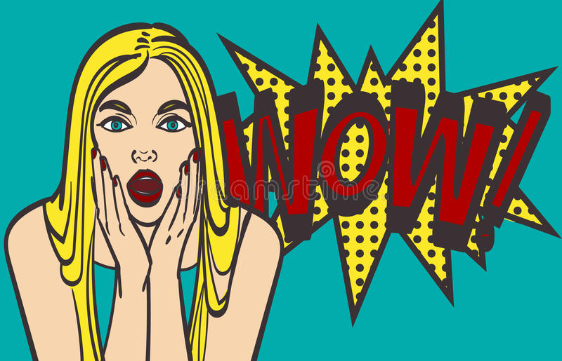 Pop art surprised blond woman face with open mouth. Comic woman with speech bubble. Eps 10 royalty free illustration