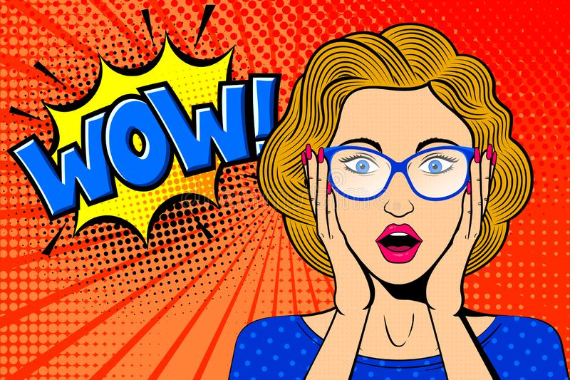 Pop art surprised female face. Comic blonde woman in glasses with WOW! speech bubble. royalty free illustration