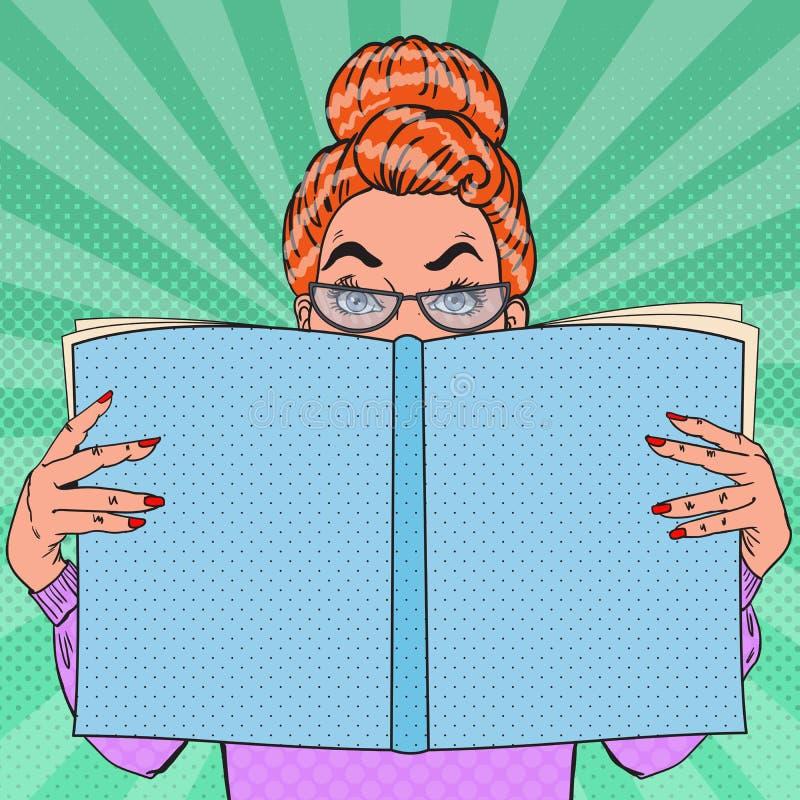 Pop Art Surprised Woman Holding Book bilda begrepp royaltyfri illustrationer