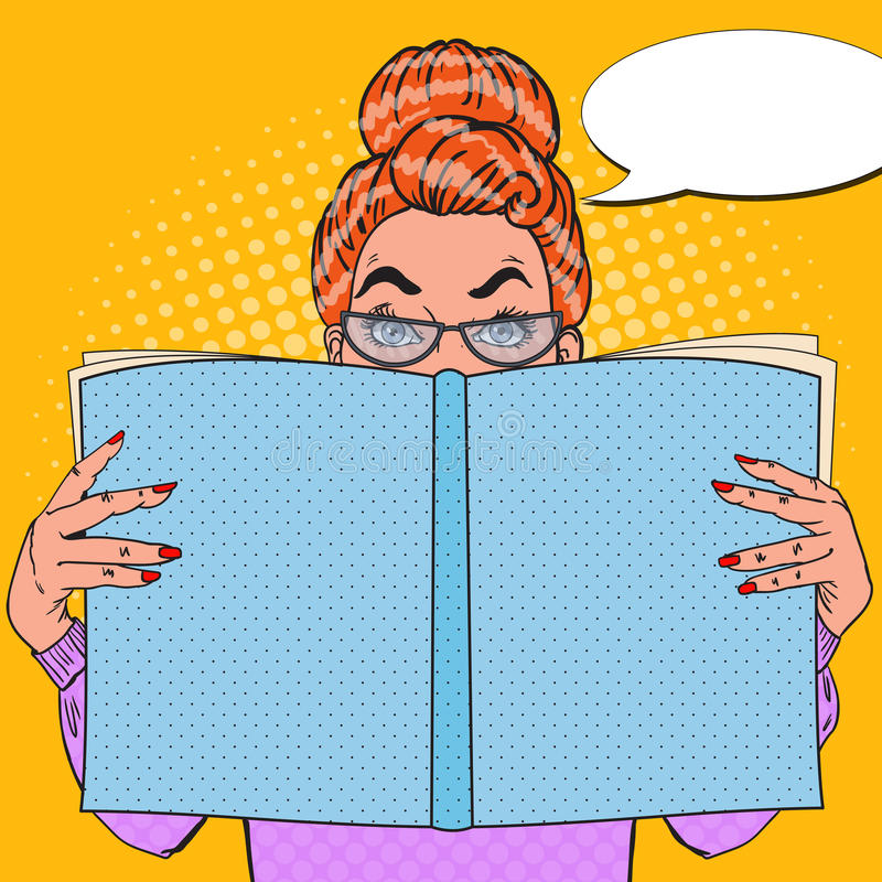 Pop Art Surprised Woman Reading Book bilda begrepp royaltyfri illustrationer