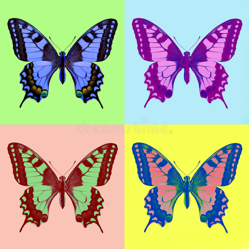 Pop art swallowtail (Papilio machaon). Isolated stock image