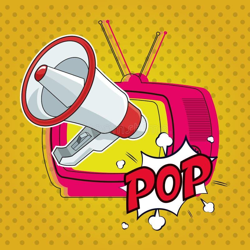 Pop-art televison megafoon marketing ontwerp vector illustratie