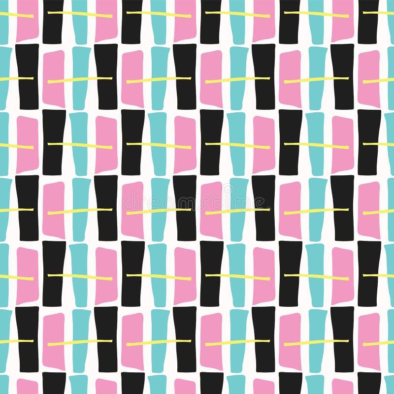Pop art tirado Memphis Style Geometric Abstract Seamless ilustração royalty free