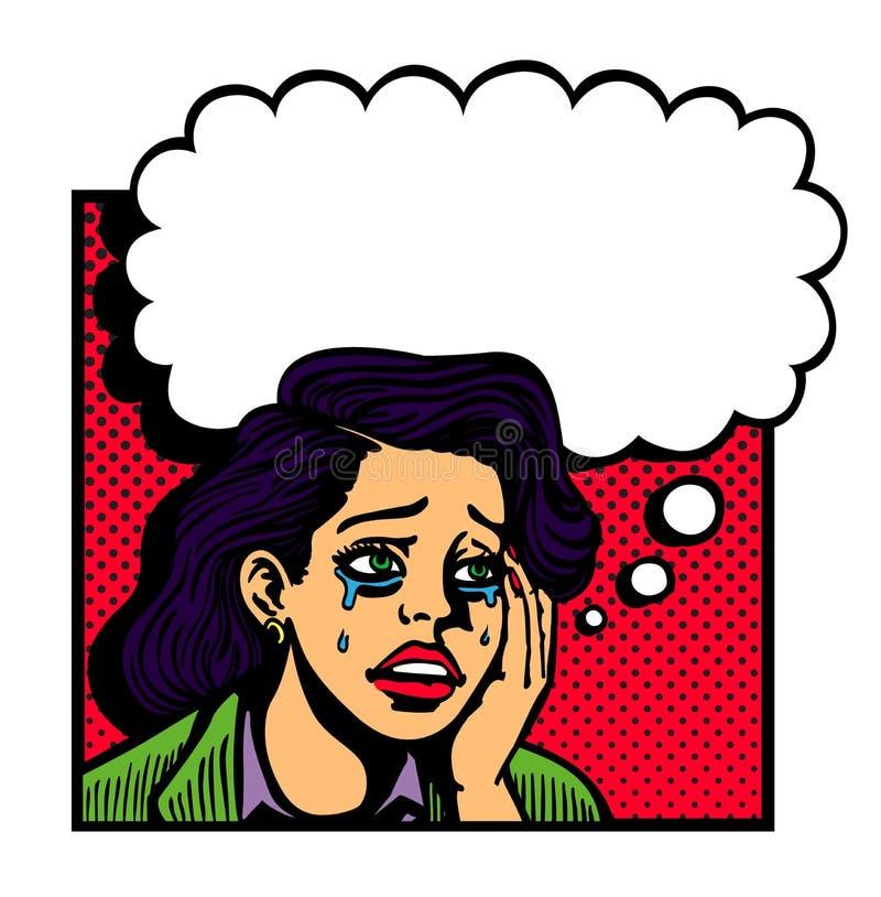 Pop-art uitstekende illustratie van het droevige ontroostbare smoorverliefde meisje schreeuwen royalty-vrije illustratie