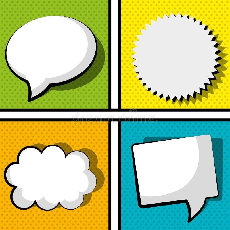 Pop-Art und komische Blasen bunt stock abbildung