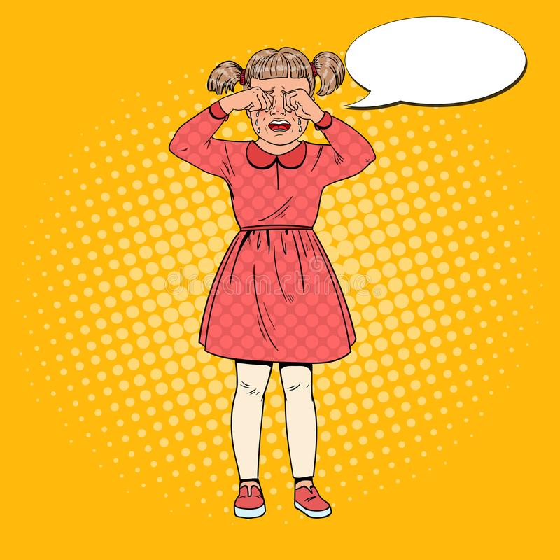 Pop Art Unhappy Little Girl Crying med revor Ledset barnansiktsuttryck Tårfylld unge vektor illustrationer