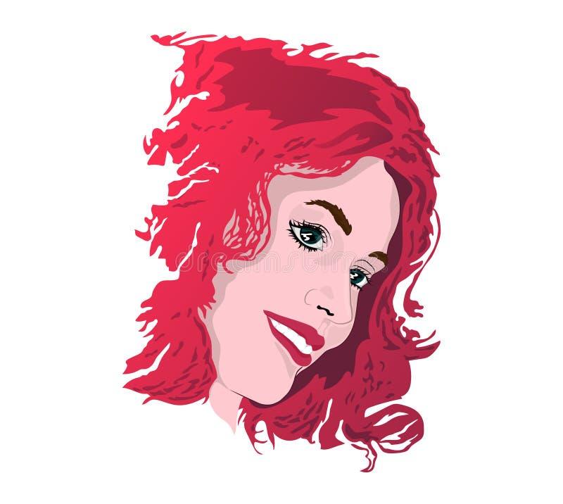 Pop-Art Universalschablone für Grußkarte, Webseite, Hintergrund Rothaariges Mädchen lächelt und schaut heraus von unterhalb ihrer lizenzfreie abbildung