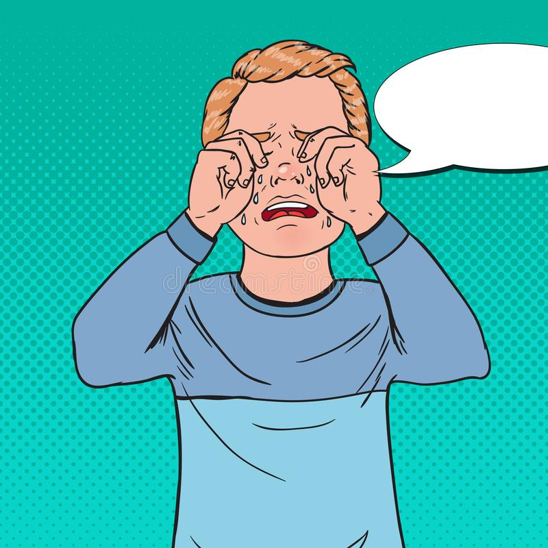 Pop Art Upset Little Boy Crying. Sad Child Cry with Tears. Screaming Kid Facial Expression stock illustration