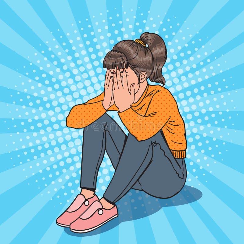 Pop Art Upset Young Girl Sitting på golvet Deprimerad skriande kvinna royaltyfri illustrationer
