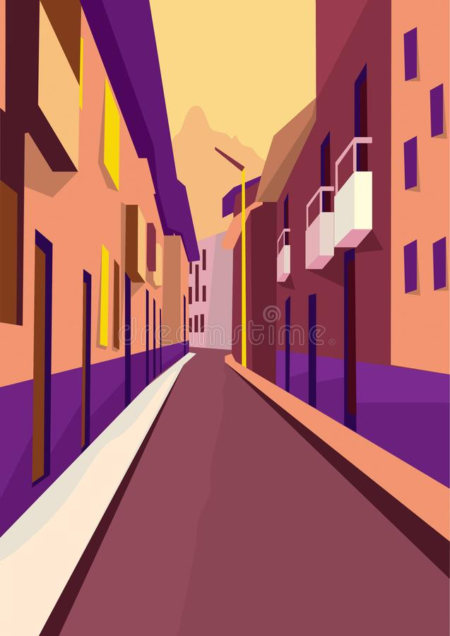 Pop art urban houses landscape with a retro style flat design vector illustration