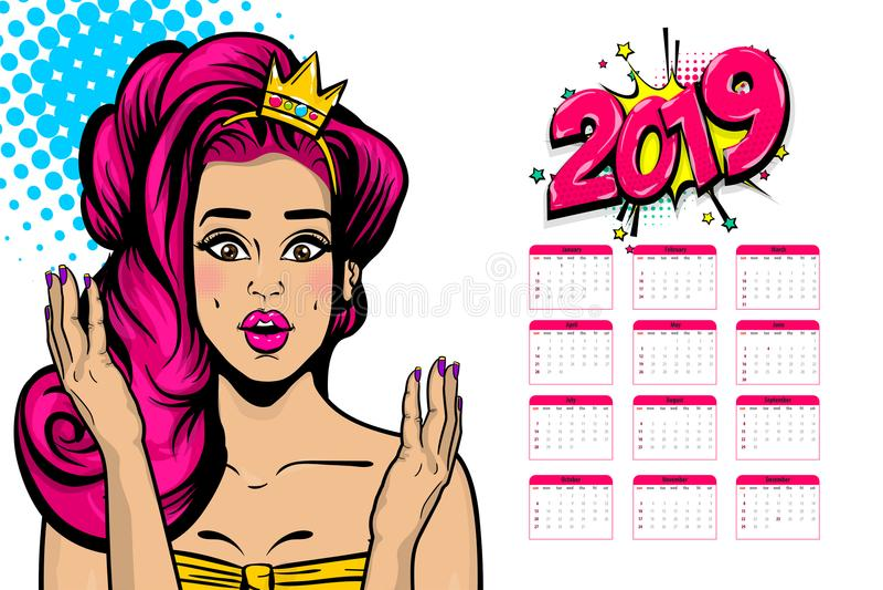 pop-art van de de kalender het sexy vrouw van 2019 stock illustratie
