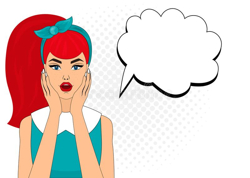 Pop art comic style surprised woman with speech bubble, pin up girl portrait, vector illustration. royalty free stock photos