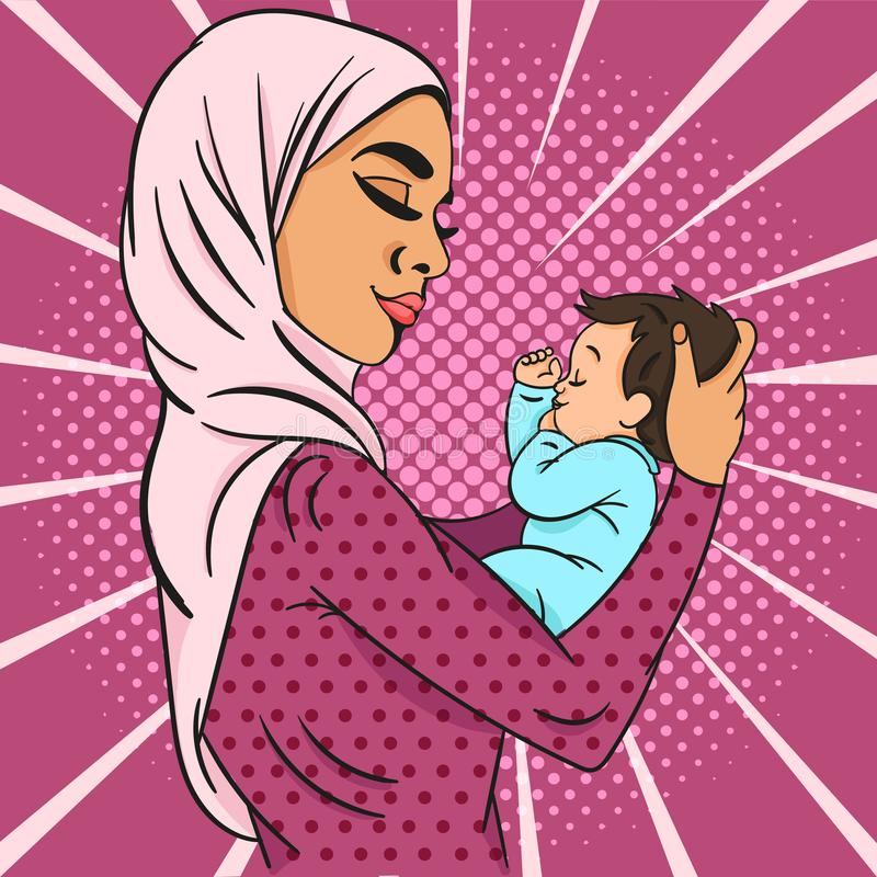 Pop-art Vector illustration of Cute young muslim mother in hijab gently holding the baby in her arms over purple vector illustration