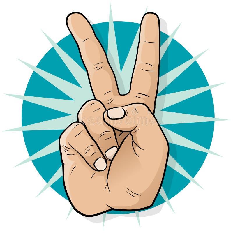 Pop Art Victory Hand Sign. stock illustratie