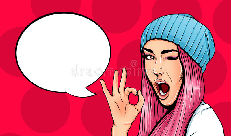 Pop Art Vintage advertising poster comic girl with speech bubble. Pretty girl giving ok gesture royalty free illustration