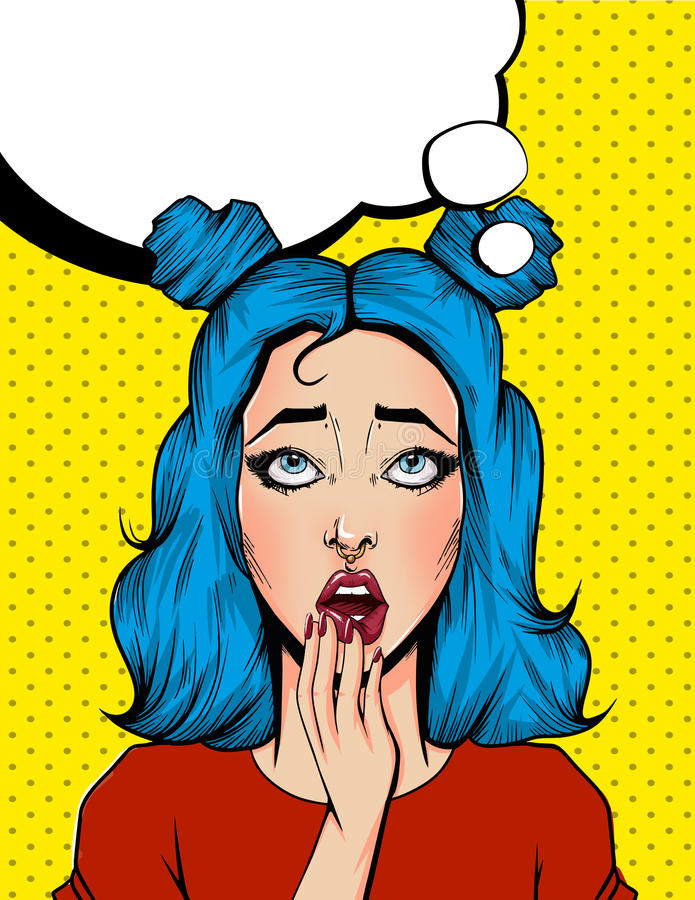 Pop Art Vintage advertising poster comic girl with speech bubble. Surpised pretty girl royalty free illustration