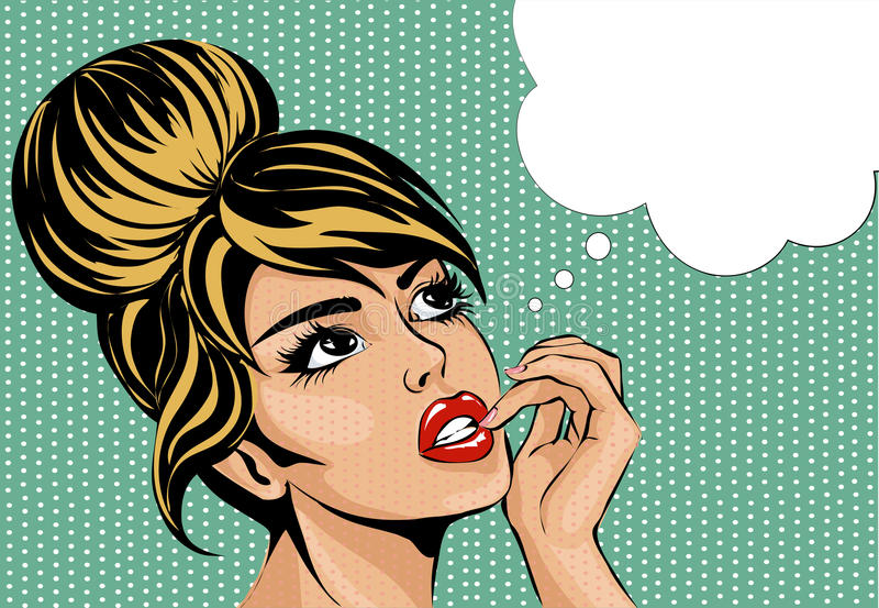 Pop art vintage comic style woman with open eyes dreaming, female portrait with speech bubble. Illustration royalty free illustration
