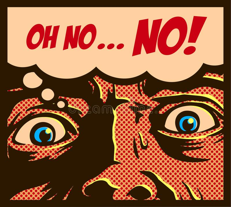 Pop art vintage comics style man in a panic with terrified face staring at something shocking vector illustration vector illustration