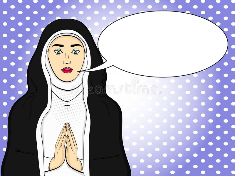 Pop art votaress, God sister prays. In black and white clothes. Theme of faith, woman raster Text bubble. Pop art votaress, God sister prays. In black and white vector illustration