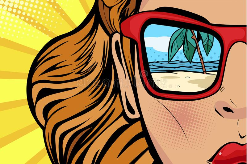 Pop art Woman with beach and sea reflection in summer. Comic girl face for travel shops vector illustration