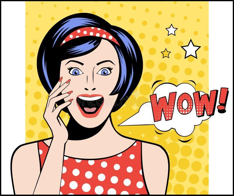 Pop Art Woman borrelt WAUW Vector illustratie stock illustratie